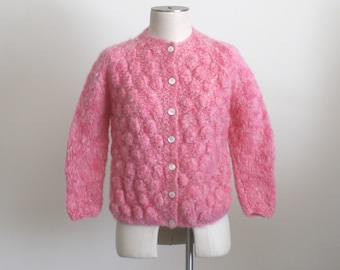 395be6c714a 1950s Pink MOHAIR Cardigan Sweater . Beautiful Vintage 50s 60s Mohair Wool  Knit Jumper Cardy Sweater Hand Made In Italy . Size Small Bust 36