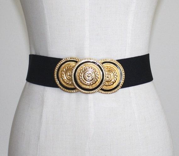 Vintage Gold Buckle Waspie Cinch Belt . 1980s Blac