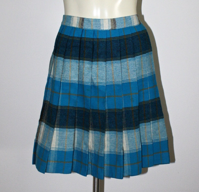 High Waist Metal Zipper Vintage 50s Blue Ivory Plaid Skirt Size Extra Small to Small 1950s Plaid Pleated Wool Skirt