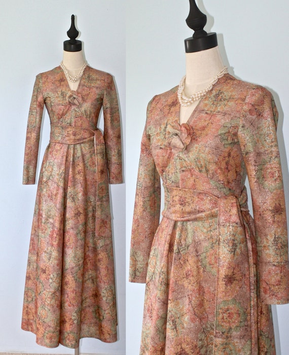1970s VICTOR COSTA Maxi Dress . Vintage Long Flora