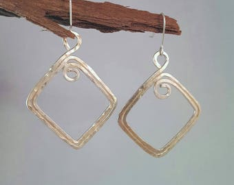 Hammered Square Earrings