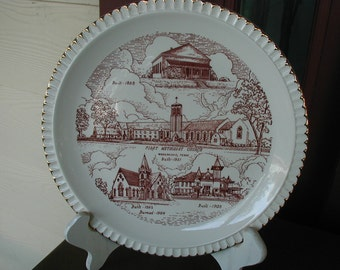 Vintage Church Plate Collectible Decorative Wall First Methodist History Waxahachie Texas