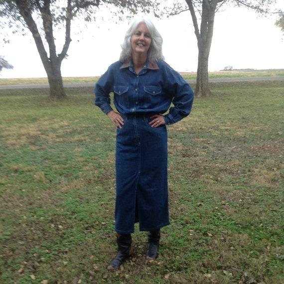 1980s Denim Dress / Vintage Dress / Vintage Denim