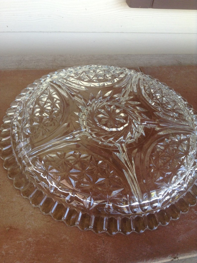 Vintage Glass  Clear Glass Plate  Pressed Glass  Glass Divided Plate  Relish Tray  Glass Relish Plate  Glass Relish Tray  Glass Tray