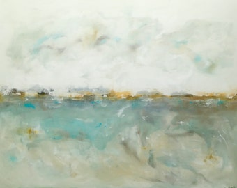 Abstract Expressionist Painting Original Art - Dreamy Sea 36 x 48