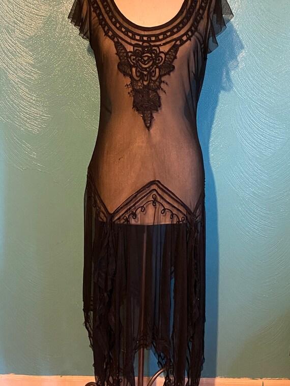 1920 black mesh dress
