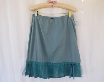 Tutu Slip Skirt S M Turquoise Teal Glam Garb Handmade USA Hand-Dyed Vintage Half-Slip Retro Tulle Extender Skirt Feminine Victorian Boudoir