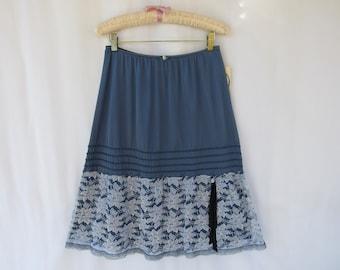 Slip Skirt M L Charcoal Navy Glam Garb Handmade USA Hand-Dyed Vintage Half-Slip Retro Romantic Floral Lacy Extender Undergarment Boudoir