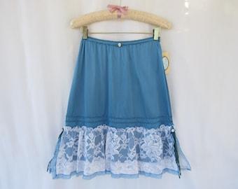 Ruffle Slip Skirt P XS Turquoise Teal Glam Garb Handmade USA Hand-Dyed Vintage Half-Slip Retro Lacy Extender Undergarment Romantic Feminine