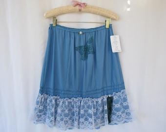 Slip Skirt M L Turquoise Teal Glam Garb Handmade USA Hand-Dyed Vintage Half-Slip Retro Lacy Extender Undergarment Romantic Feminine Wedding