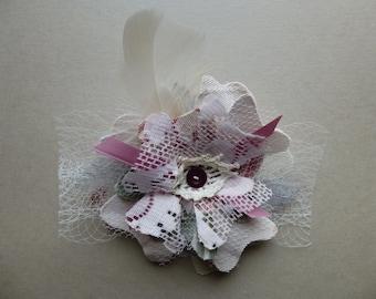 Glam Garb Fabric Flower Brooch Pin Floral Crochet Mauve Pink Green Grey Handmade USA Romantic Victorian Edwardian Steam-punk Vintage Boho