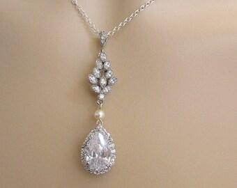 Bridal Necklace Bridal pearl rhinestone necklace Teardrop necklace Cubic Zirconia Necklace Statement Bridal Necklace wedding necklace THELMA