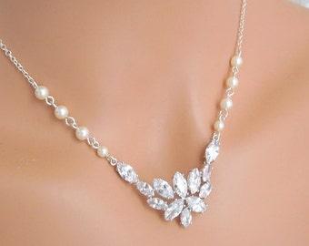 bridal necklace, pearl rhinestone necklace, Wedding Rhinestone necklace, cubic zirconia and pearl necklace, Statement necklace, GENEVA