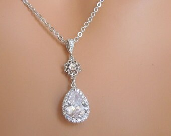 Bridal crystal Necklace, Wedding necklace, Cubic Zirconia, wedding crystal Necklace, teardrop necklace, Statement Bridal Necklace BECKY