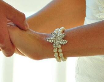 Pearl Bracelet, Bridal Starfish Bracelet, Beach Wedding bracelet, Bridal Cuff, Statement Bridal Bracelet, Starfish Bracelet, Cuff, ARIEL