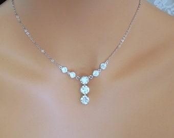 Swarovski Crystal Bridal Necklace Bridal Jewelry Wedding Crystal Necklace Cubic Zirconia Necklace Wedding Necklace Crystal Pendant CAYLA