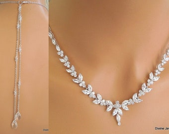 bridal necklace Backdrop Necklace Bridal rhinestone necklace crystal  necklace wedding necklace statement necklace bridal jewelry LORNA bef9dbc2e51b
