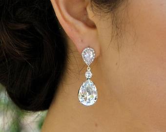 crystal earrings bridal earrings swarovski crystal cubic zirconia teardrop earrings wedding earring rhinestone earrings drop earrings ARIA