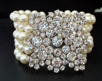 Bridal pearl and crystal Bracelet, Statement Bridal Bracelet, Bridal Cuff, Wedding Rhinestone Bracelet, swarovski crystal bracelet, ATHENA