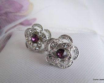 Bridal Earrings Bridal Rhinestone Earrings Rhinestone Earrings Wedding Rhinestone Earrings Purple swarovski crystal Bridal Earrings ROSELANI