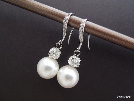 Bridal Earrings Pearl Earrings Pearl And Rhinestone Dangle Etsy