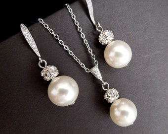 bridal jewelry set wedding jewelry set necklace and earrings set pearl jewelry set pearl necklace set pearl earrings vintage style CLAIRE