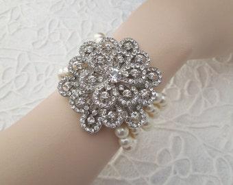 ivory swarovski pearl and crystal Bracelet Statement Bridal Bracelet Bridal Cuff Wedding Rhinestone Bracelet swarovski crystal DAHLIA