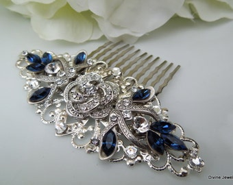 Swarovski Crystal Bridal Hair Comb Wedding Hair Comb Something Blue flower and leaf wedding Hair accessories vintage style ROSELANI