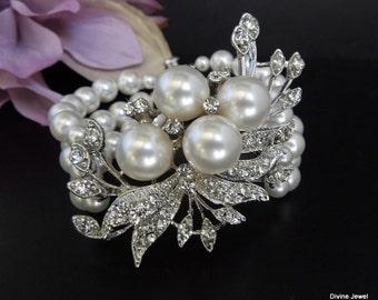 Pearl bracelet pearl and crystal Bracelet Statement Bridal Bracelet Bridal Cuff Wedding Rhinestone Bracelet swarovski crystal bracelet JULIE