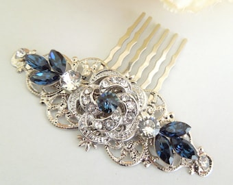 swarovski crystal hair comb wedding hair comb bridal hair comb something blue vintage style rhinestone hair comb blue hair comb ROSELANI