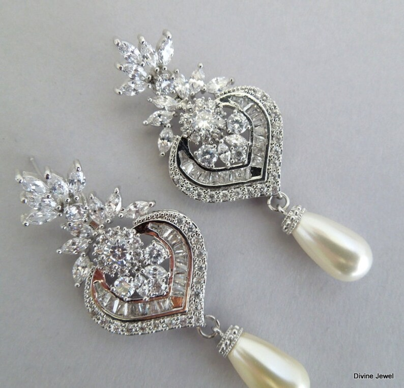 wedding rhinestone earrings XENA bridal earrings chandelier rhinestone earrings pearl earrings vintage style Bridal crystal Earrings