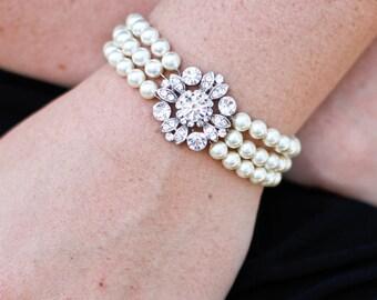 pearl and crystal Bracelet, Statement Bridal Bracelet, Bridal Cuff, Wedding Rhinestone Bracelet, swarovski crystal bracelet, pearl, COLLEEN