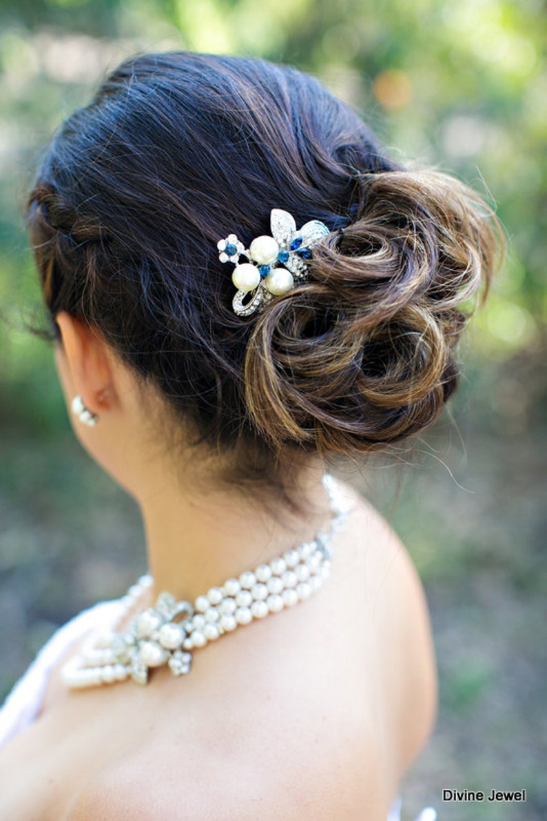 bridal Hair Comb Wedding hair comb pearl Hair Comb wedding hair accessories blue hair comb swatovski crystal vintage style hair comb SHARON