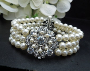 ivory swarovski pearl and crystal Bracelet Statement Bridal Bracelet Bridal Cuff Wedding Rhinestone Bracelet swarovski crystal COLLEEN