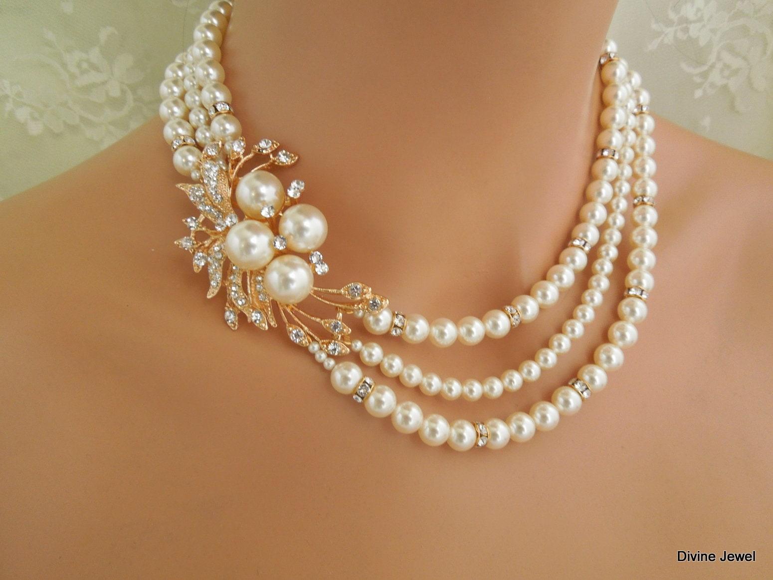rhinestone necklace wedding necklace pearl ROSELANI pearl necklace bridal Pearl Necklace vintage style wedding rhinestone Necklace