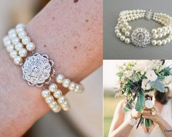 bridal bracelet pearl and crystal Bracelet Statement Bridal Bracelet Bridal Cuff Wedding Rhinestone Bracelet swarovski pearls STEPHANIE