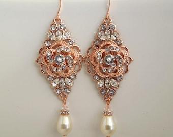 Rose Gold Chandeliers Earrings wedding rhinestone earrings rose Gold Earrings Ivory swarovski Pearl Bridal Pearl Crystal Earrings ROSELANI