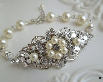 pearl rhinestone Bracelet, Statement Bridal Bracelet, Bridal Cuff, Wedding Rhinestone Bracelet, swarovski crystal bracelet, pearl, AMELIA