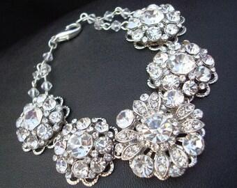 Bridal Bracelet, Bridal Rhinestone Bracelet, Statement Bridal Bracelet, Bridal Cuff, Wedding crystal Bracelet, Rhinestone Bracelet, LILLIAN
