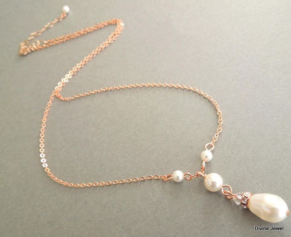 rose gold pearl necklace pearl and crystal necklace Wedding  798f9c5c3