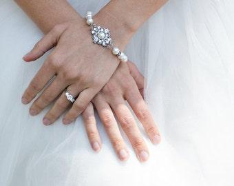 ivory swarovski pearl and crystal Bracelet Statement Bridal Bracelet Bridal Cuff Wedding Rhinestone Bracelet swarovski crystal CLAUDE