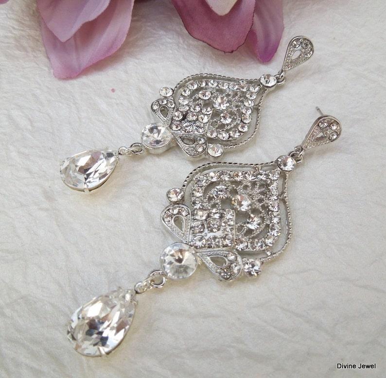 Statement Earrings STELLA rhinestone earrings wedding Rhinestone Earrings bridal Earrings Chandelier Bridal crystal Earrings teardrop