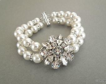 Bridal pearl and crystal Bracelet, Statement Bridal Bracelet, Bridal Cuff, Wedding Rhinestone Bracelet, swarovski crystal bracelet, SAVANNAH