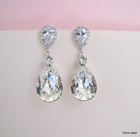 rhinestone Earrings Bridal crystal Earrings vintage style bridal earrings LORNA bridal earrings chandelier wedding Rhinestone Earrings