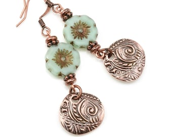 Copper Earrings - Mint Green Flower and Antique Copper Charm Earrings - Copper Jewelry Gifts for Women - Spring Jewelry