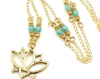 Gold Lotus Necklace Beaded Gold Necklace Gift for Women - Yoga Jewelry or Meditation Necklace - Custom Color Charm Necklae
