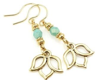 Gold Lotus Earrings - Turquoise and Gold Earrings Gift for Women - Yoga Jewelry Boho Chic Meditation Jewelry - Beaded Dangle Charm Earrings