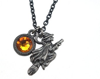 Halloween Jewelry Witch on Broom Charm Necklace with Harvest Crystal Moon Accent - Orange and Black Jewelry Samhain Necklace Present Gift