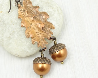 Oak Leaf and Acorn Earrings - Mixed Metal Antique Brass and Copper Autumn Beaded Jewelry - Fall Earrings