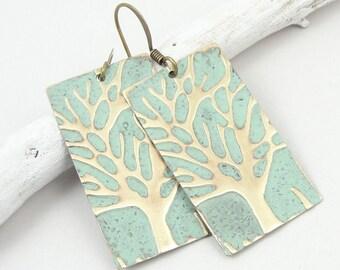 Winter Tree Earrings Mint Green Jewelry Everyday Earrings Winter Accessories Winter Jewelry Tree Jewelry Light Green Earrings Dangle